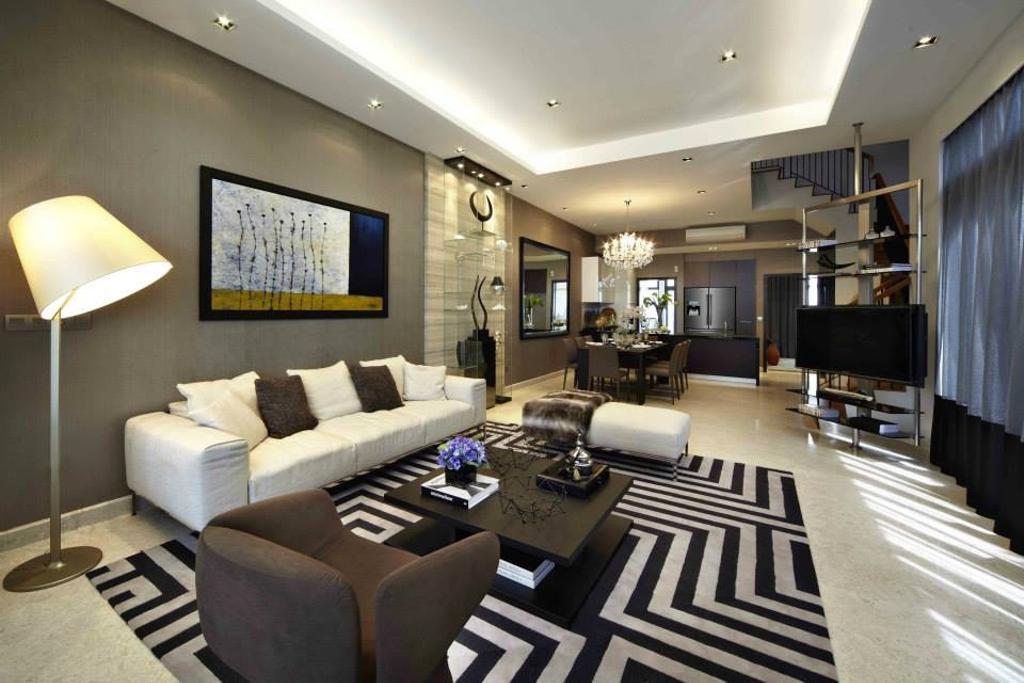 Contemporary, Landed, Living Room, Luxus Hill, Interior Designer, Elements ID
