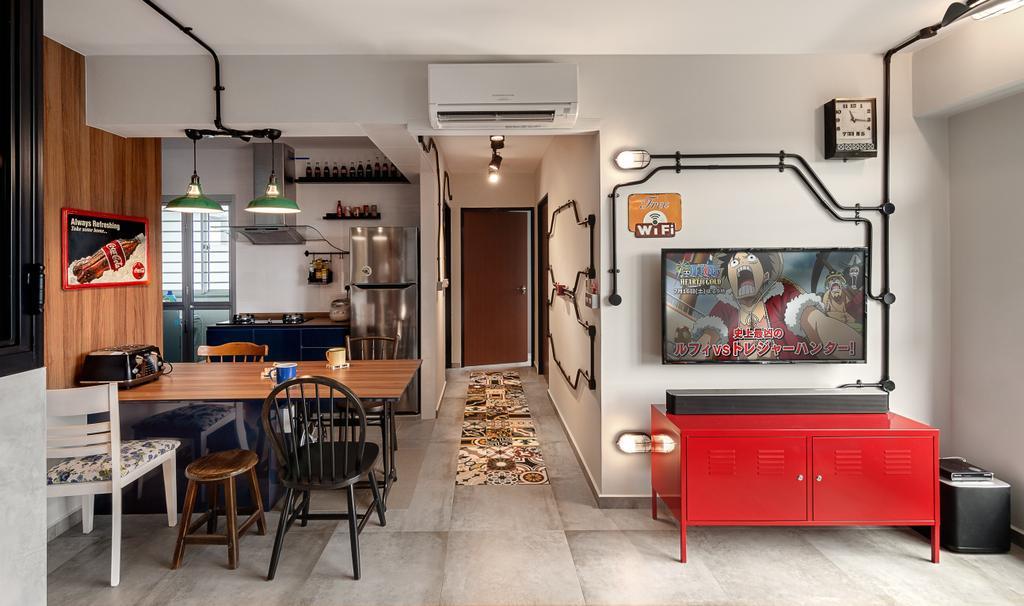 Eclectic, HDB, Dining Room, Telok Blangah Street 32, Interior Designer, Swiss Interior Design, Industrial