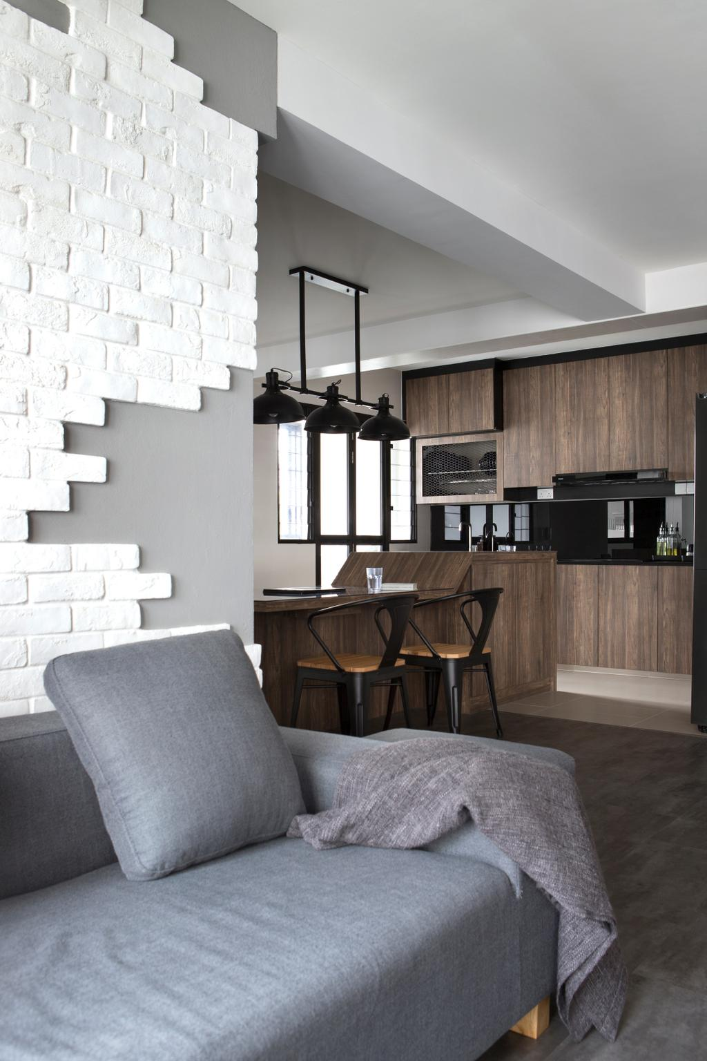Contemporary, HDB, Living Room, Buangkok Green, Interior Designer, Aestherior