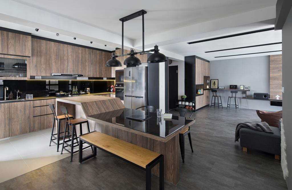 Contemporary, HDB, Kitchen, Buangkok Green, Interior Designer, Aestherior