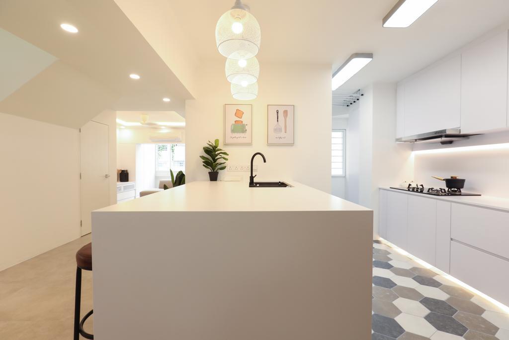 HDB, Kitchen, Jurong West, Interior Designer, Apartment, Kitchen Island