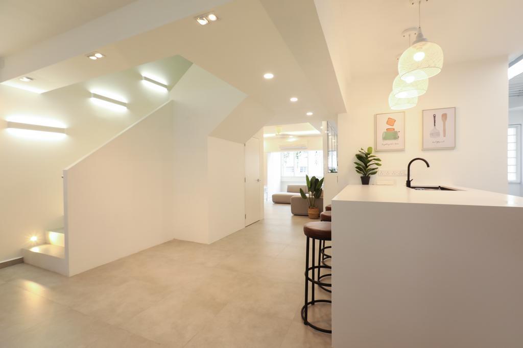 HDB, Kitchen, Jurong West, Interior Designer, Apartment, Maisonette, Open Concept, All White, Montone, Open Living, Staircase