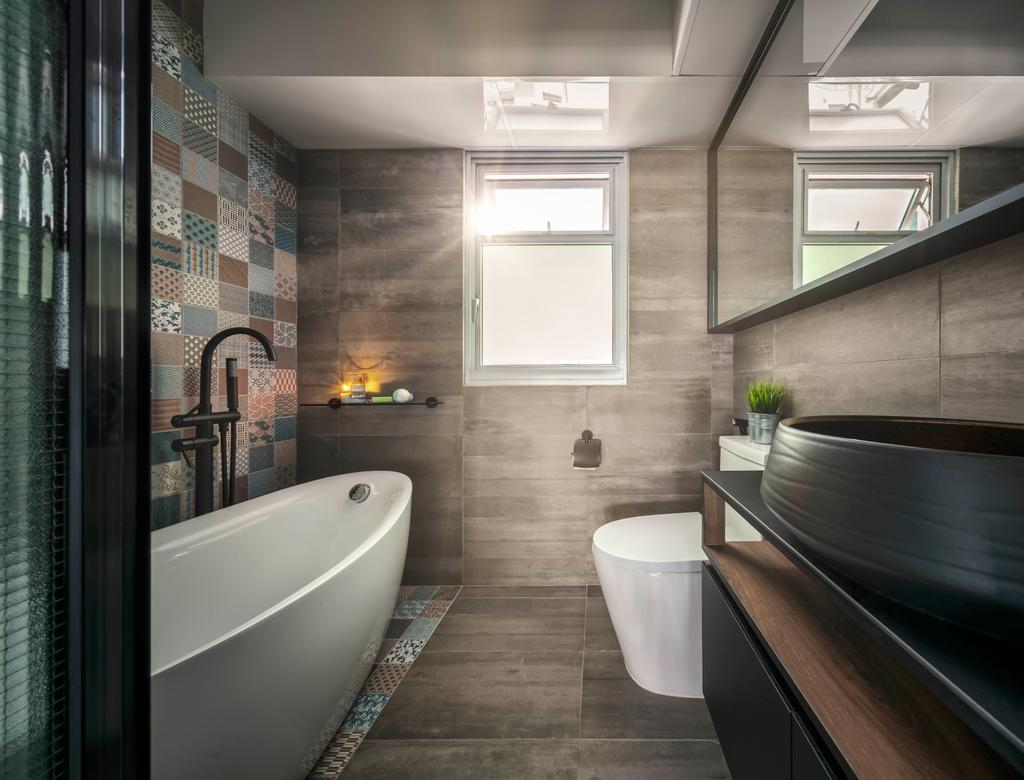 Industrial, HDB, Bathroom, Sumang Lane, Interior Designer, Ethereall, Bath Tub, Bathtub