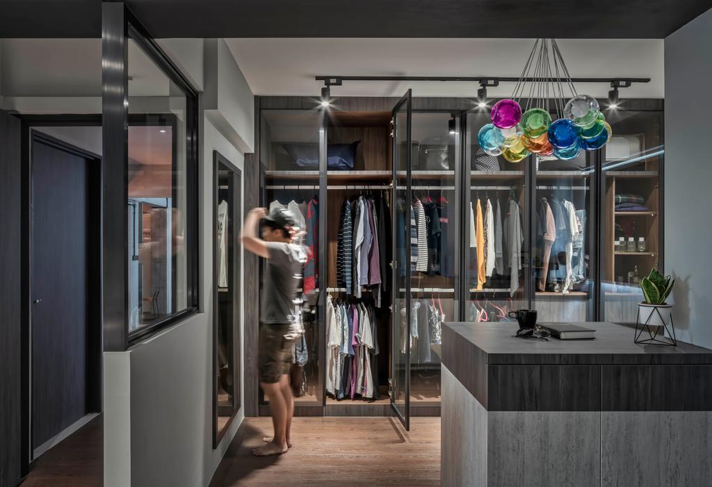 Industrial, HDB, Bedroom, Sumang Lane, Interior Designer, Ethereall, Wardrobe, Dresser, Dressing Room, Walk In Wardrobe