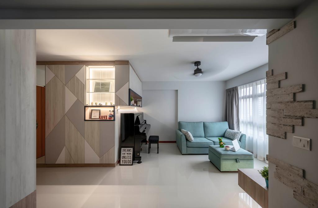 Contemporary, HDB, Living Room, Corporation Drive, Interior Designer, Ethereall