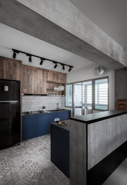 Industrial, HDB, Kitchen, Edgedale Plains, Interior Designer, Ethereall