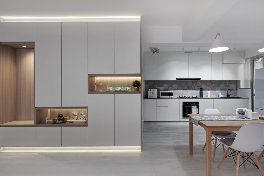 Scandinavian, HDB, Dining Room, Bukit Batok West Avenue 8, Interior Designer, Lemonfridge Studio, Open Kitchen, Open Concept