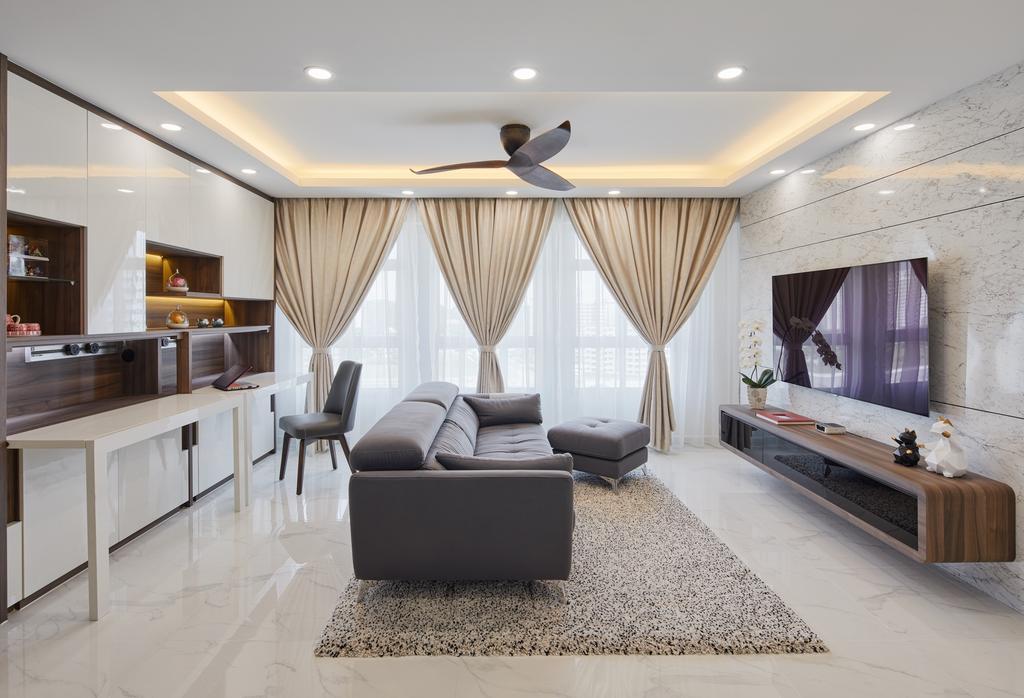 Contemporary, HDB, Living Room, Canberra Walk, Interior Designer, Absolook Interior Design