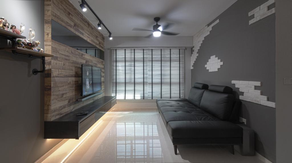 Contemporary, HDB, Living Room, Yishun Avenue 11, Interior Designer, Swiss Interior Design, Industrial