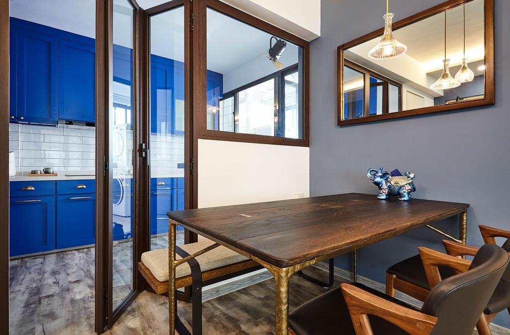 Contemporary, HDB, Dining Room, Hougang Avenue 9, Interior Designer, D5 Studio Image, Blue Kitchen, Blue