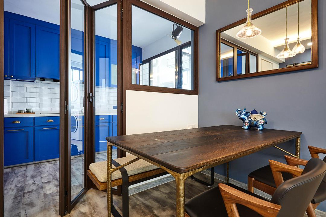 Hougang Avenue 9, D5 Studio Image, Contemporary, Dining Room, HDB, Blue Kitchen, Blue