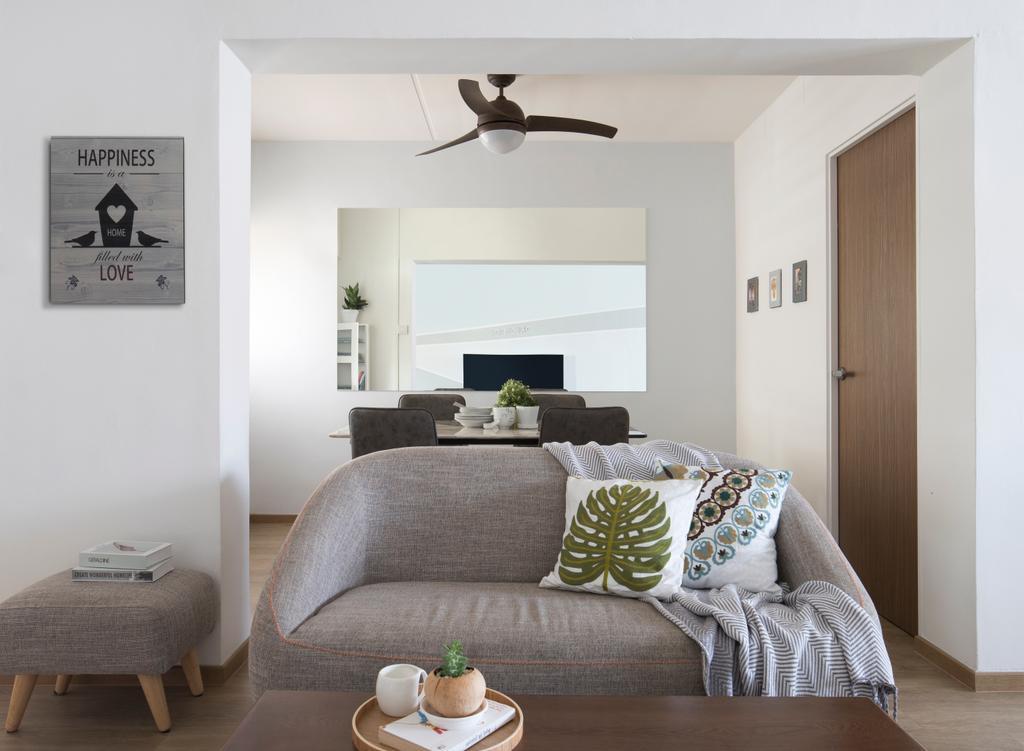 Modern, HDB, Living Room, Rivervale Drive, Interior Designer, Aestherior