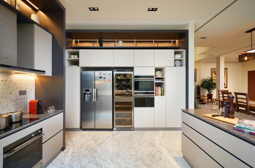Transitional, Landed, Kitchen, Serangoon Gardens, Interior Designer, Black N White Haus, Contemporary