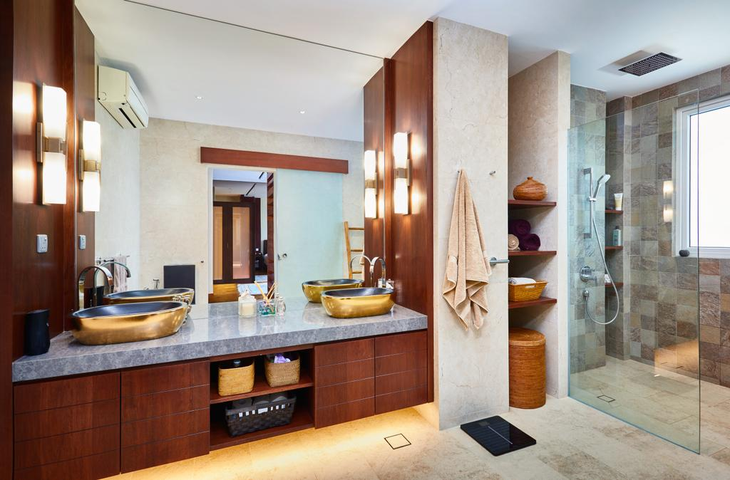 Transitional, Landed, Bathroom, Serangoon Gardens, Interior Designer, Black N White Haus, Contemporary