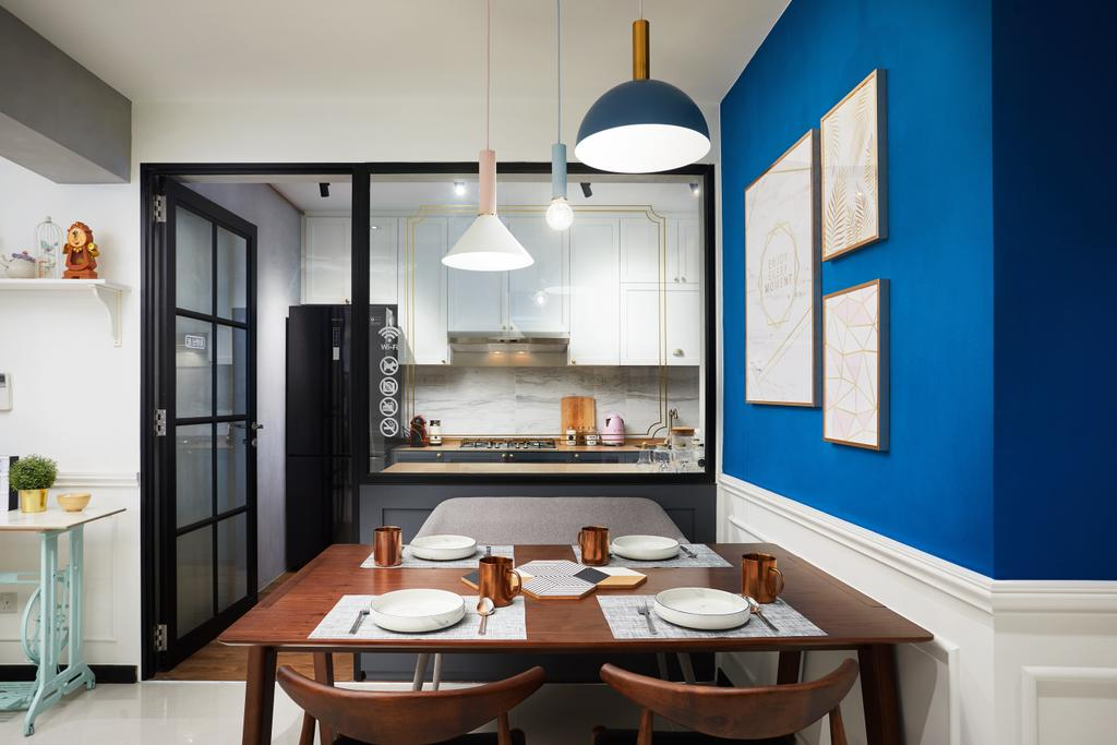 Contemporary, HDB, Dining Room, Woodlands, Interior Designer, Black N White Haus