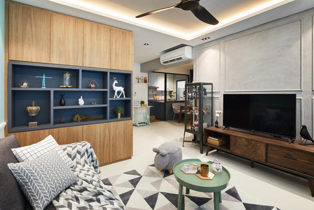 Contemporary, HDB, Living Room, Woodlands, Interior Designer, Black N White Haus