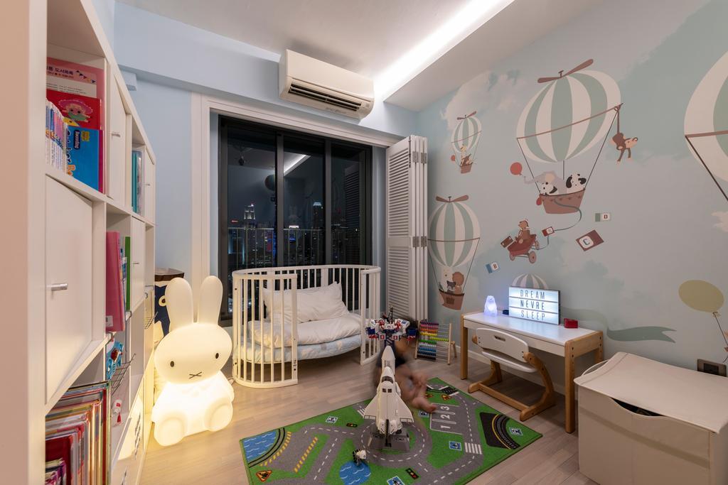 Contemporary, HDB, Bedroom, Pinnacle @ Duxton, Interior Designer, Posh Home, Kids Room, Cot, Infant, Nursery, Crib