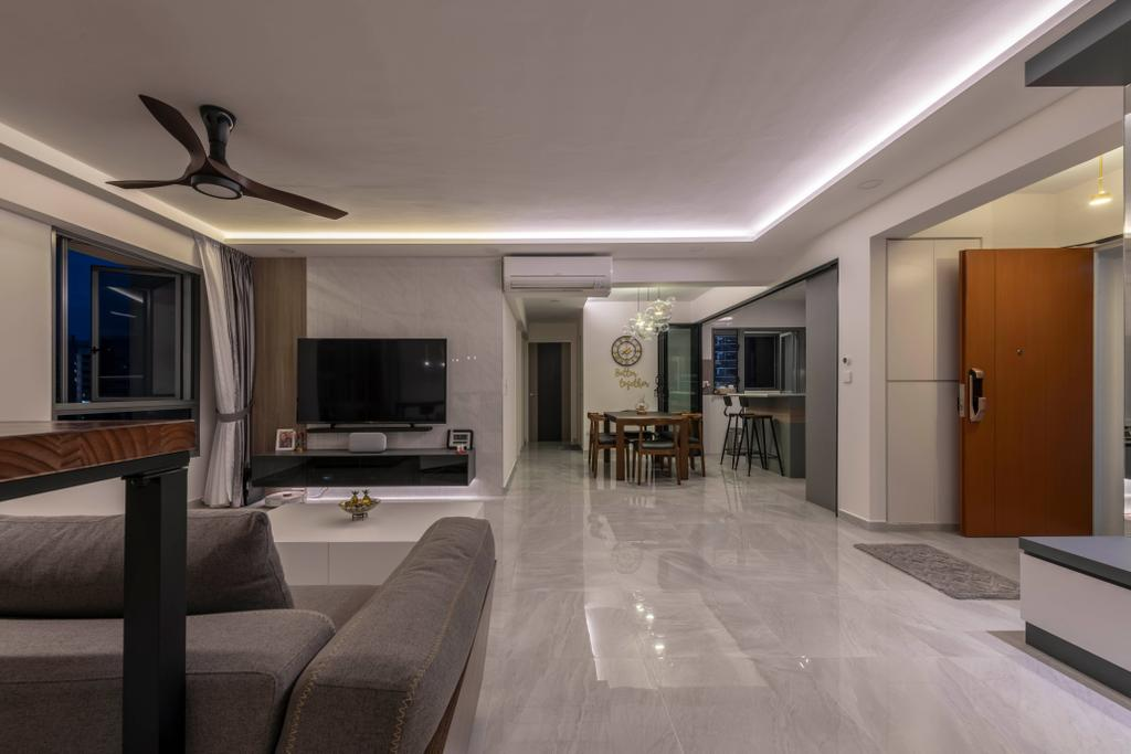Contemporary, HDB, Living Room, Punggol East, Interior Designer, Project Guru