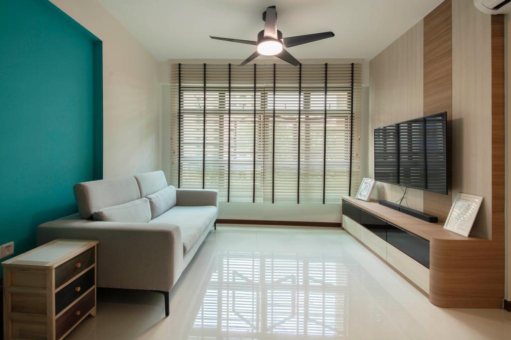 Contemporary, HDB, Living Room, Upper Serangoon Road, Interior Designer, VVID Elements