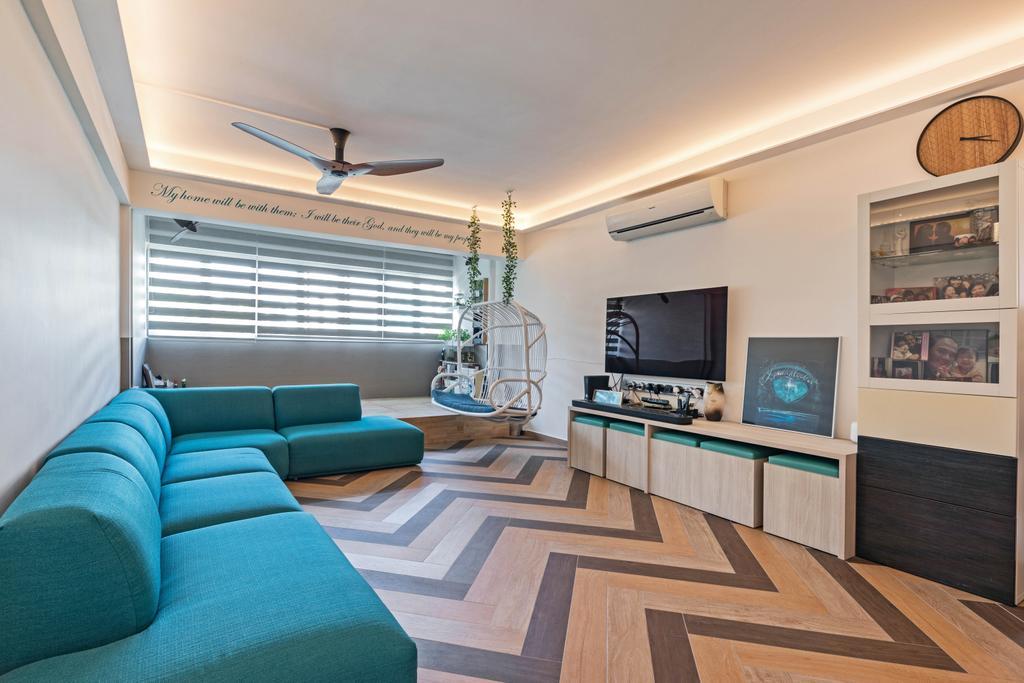 Contemporary, HDB, Living Room, Serangoon Avenue 3, Interior Designer, Seven Heaven