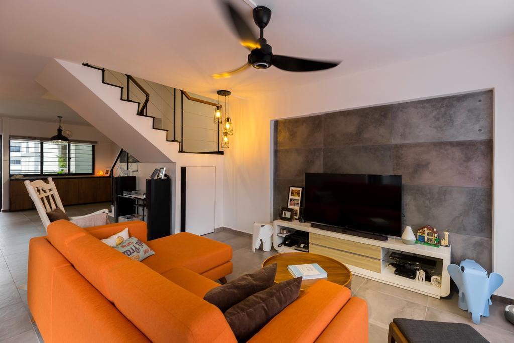Contemporary, HDB, Living Room, Simei Street 4, Interior Designer, Dyel Design