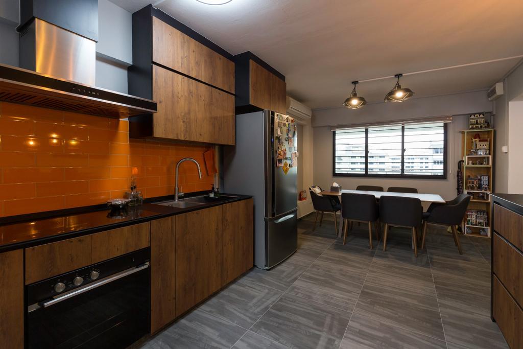 Contemporary, HDB, Kitchen, Simei Street 4, Interior Designer, Dyel Design