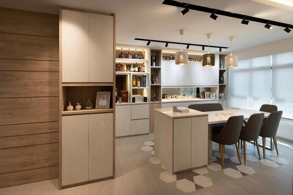 Contemporary, HDB, Kitchen, Bedok North, Interior Designer, The Makers Design Studio, Kitchen Island, Open Kitchen, Bar Counter, Graphic Tiles, Wine, Bar