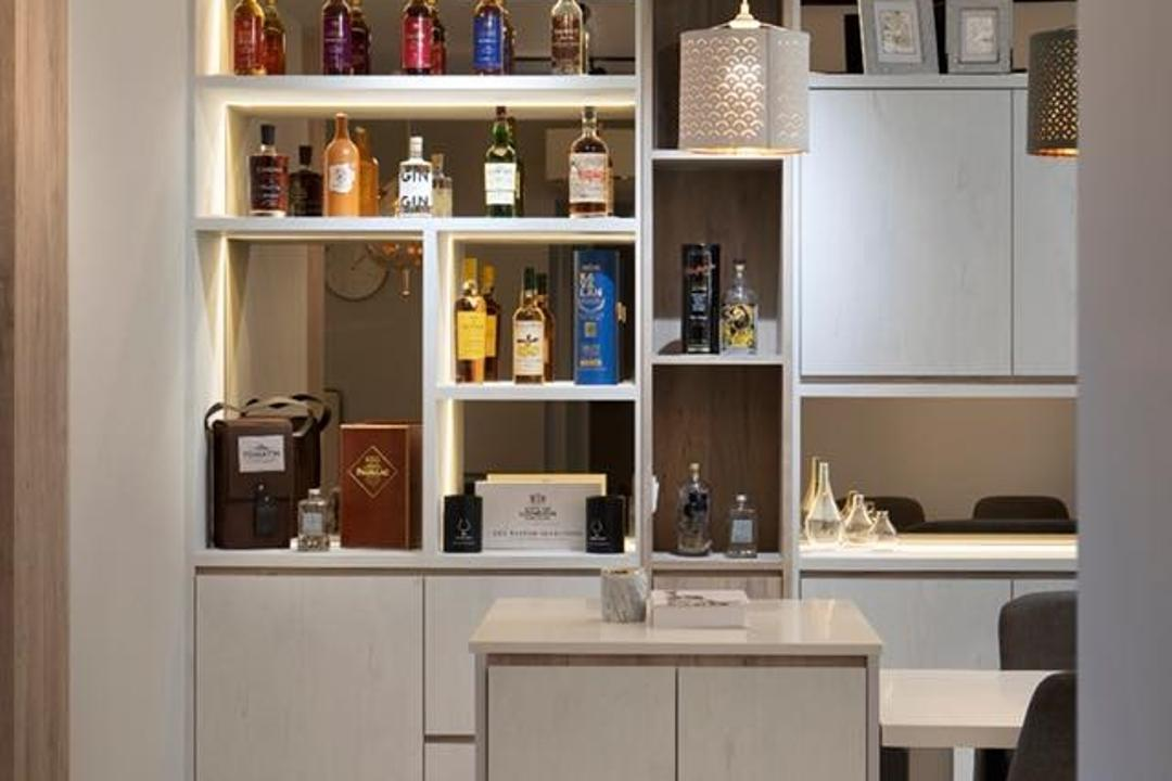 Bedok North, The Makers Design Studio, Contemporary, Kitchen, HDB, Bar, Alcohol, Wine
