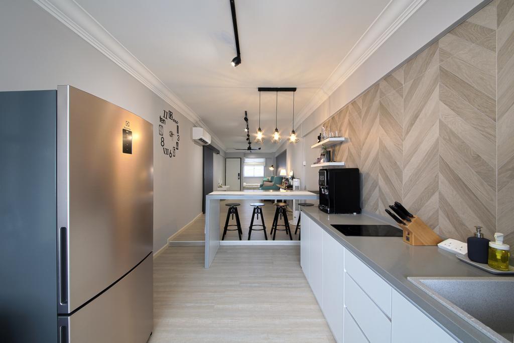Contemporary, HDB, Kitchen, Bedok North Road, Interior Designer, Dap Atelier