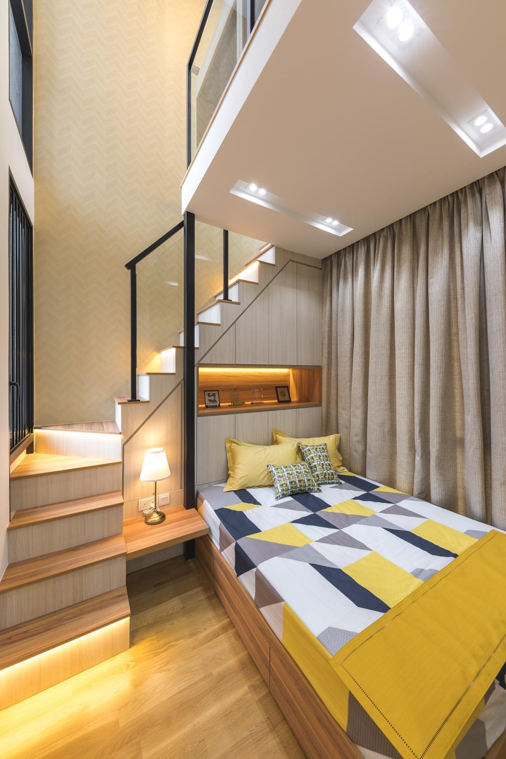Contemporary, Condo, Bedroom, The Trilinq, Interior Designer, U-Home Interior Design, Loft
