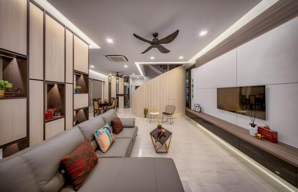 Contemporary, Landed, Living Room, Bright Hill Crest, Interior Designer, Weiken.com