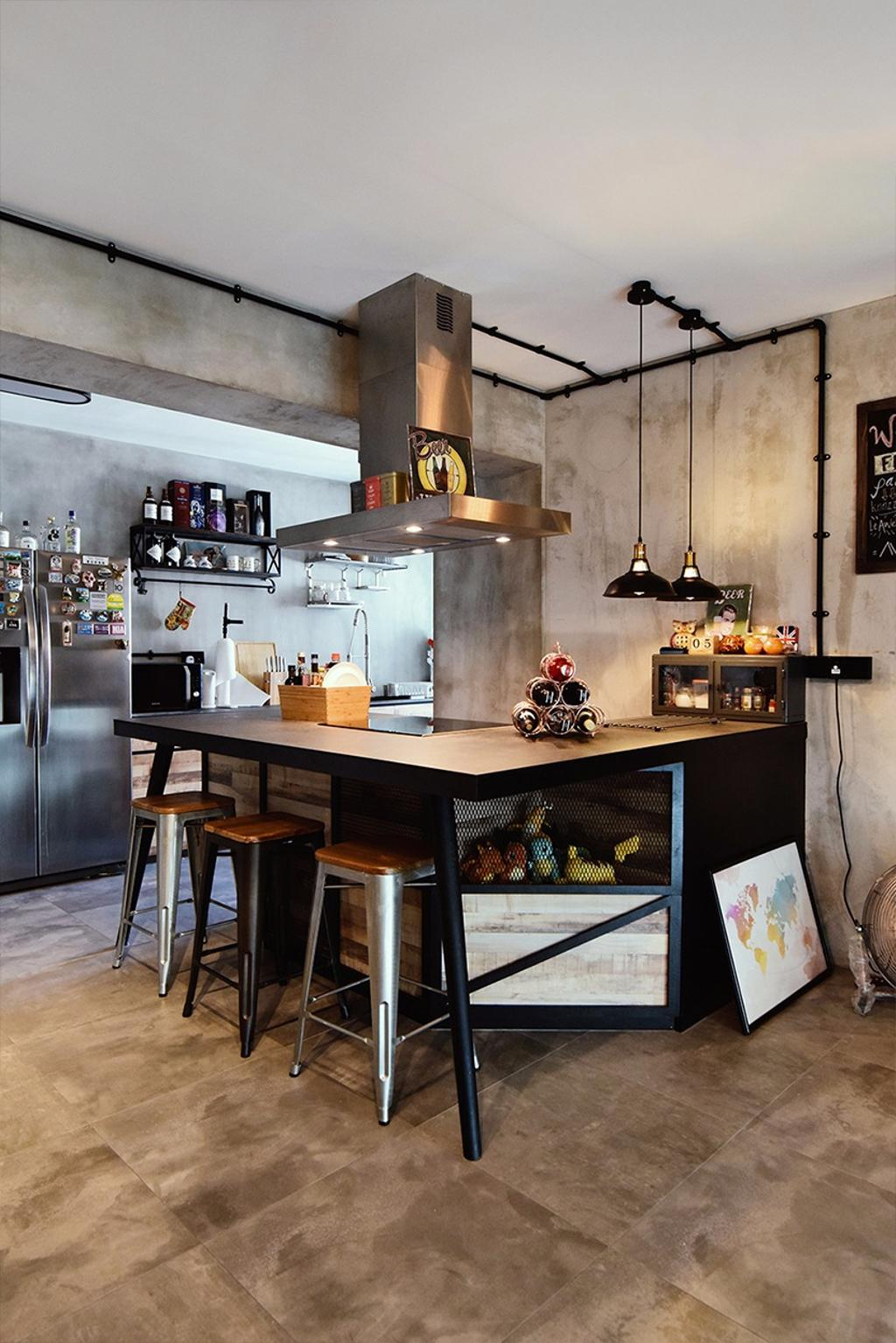 Contemporary, HDB, Dining Room, Edgedale Plains, Interior Designer, NID Design Group, Industrial