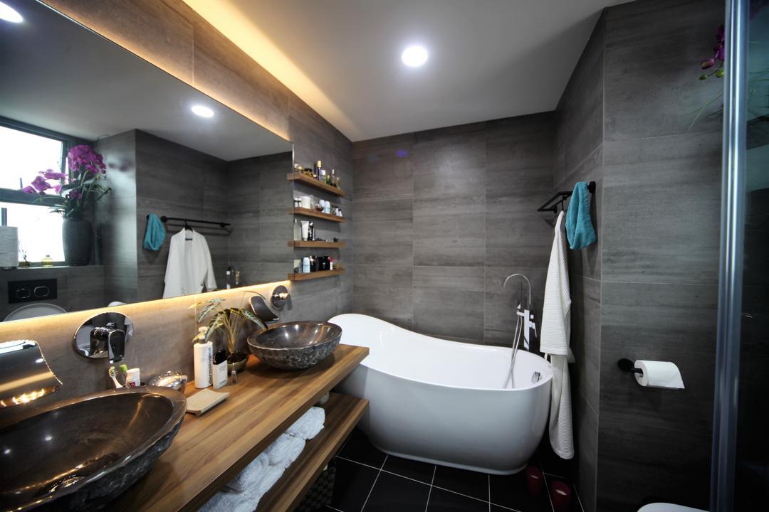 Aspen Heights, Interior Diary, Contemporary, Eclectic, Bathroom, Condo, Bath Tub, Bathtub, Freestanding Tub