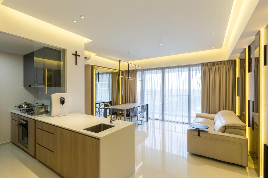 Contemporary, Condo, Kitchen, Fernvale Close, Interior Designer, Design by Fifteen Pte Ltd
