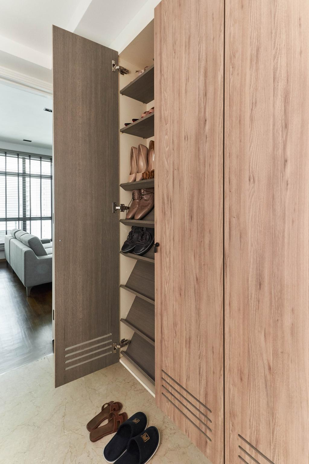 Contemporary, Condo, Living Room, The Spinnaker, Interior Designer, Escapade Studios, Entrance, Shoe Cabinet