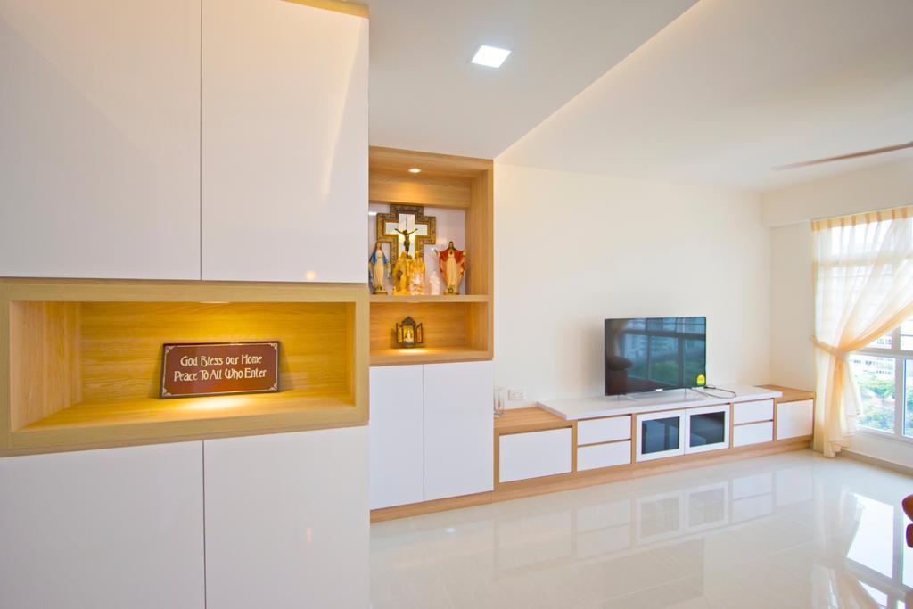 Contemporary, HDB, Living Room, Compassvale Crescent, Interior Designer, Renex Interior