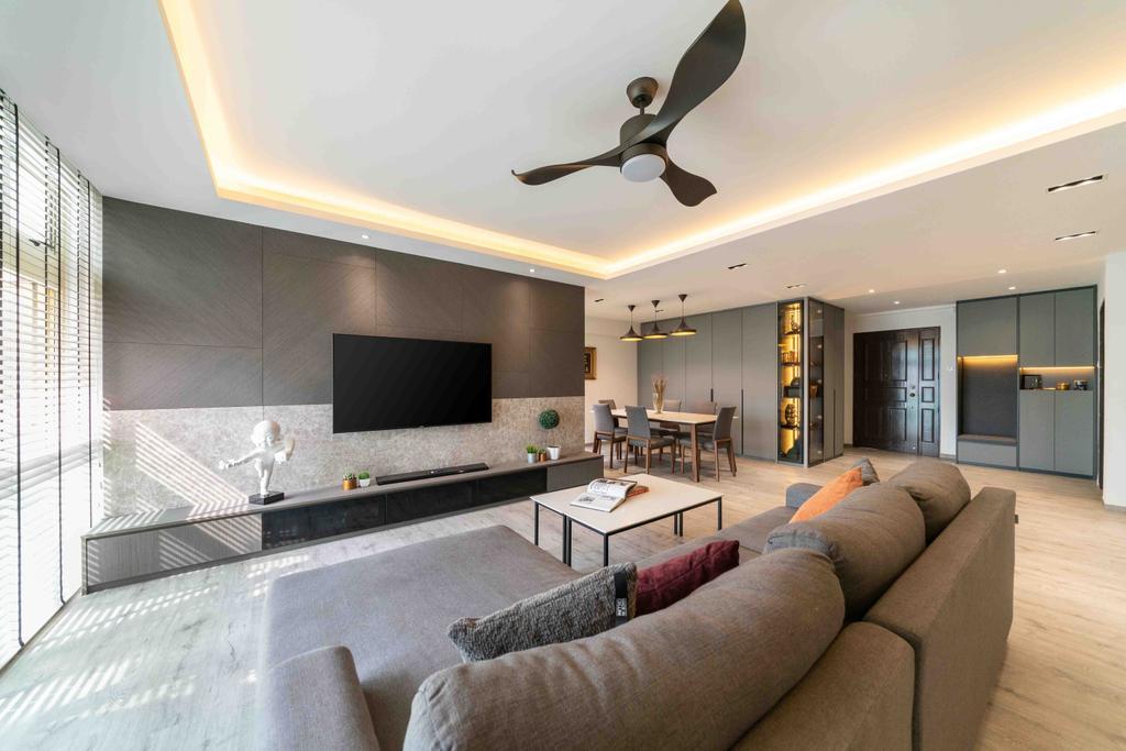Contemporary, HDB, Living Room, Edgefield Plains, Interior Designer, Fineline Design