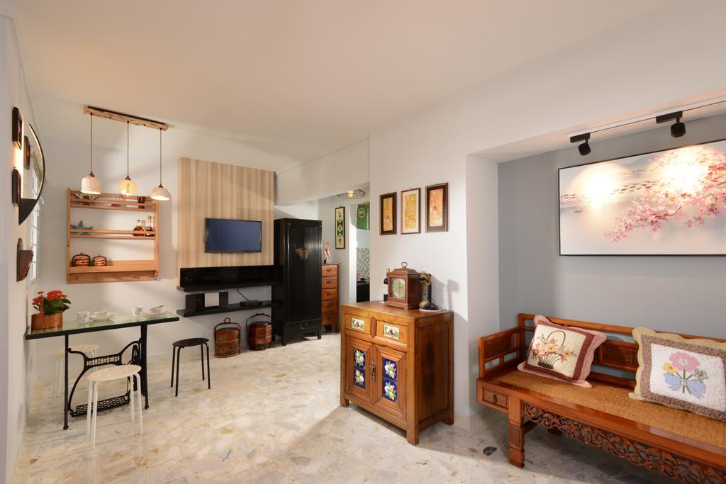 Contemporary, HDB, Living Room, Eunos Crescent, Interior Designer, Darwin Interior, Retro