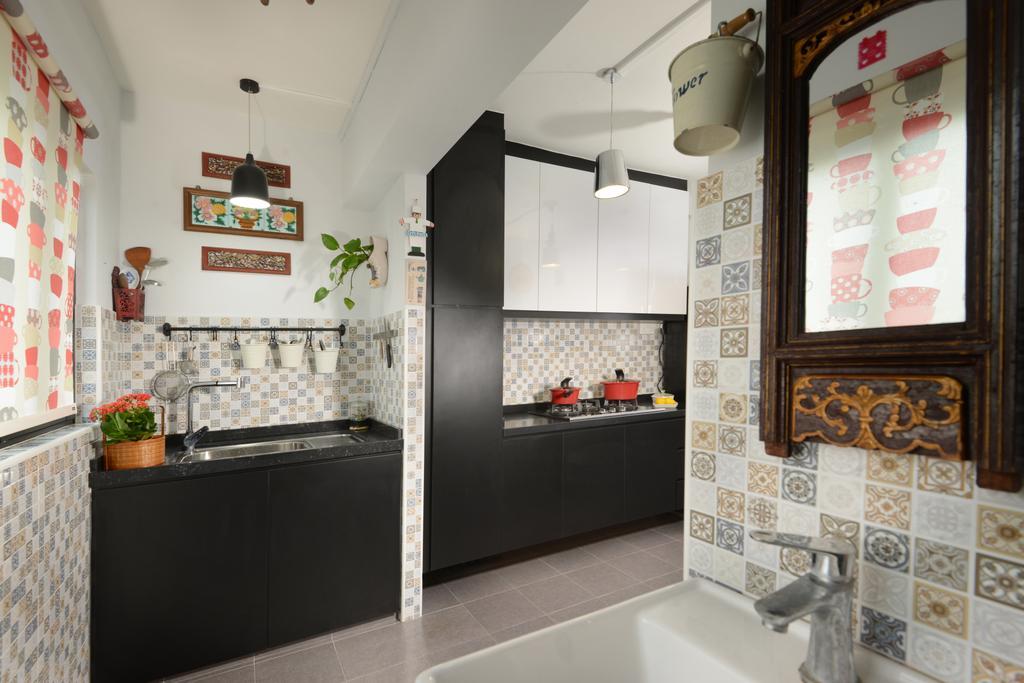 Contemporary, HDB, Kitchen, Eunos Crescent, Interior Designer, Darwin Interior, Retro