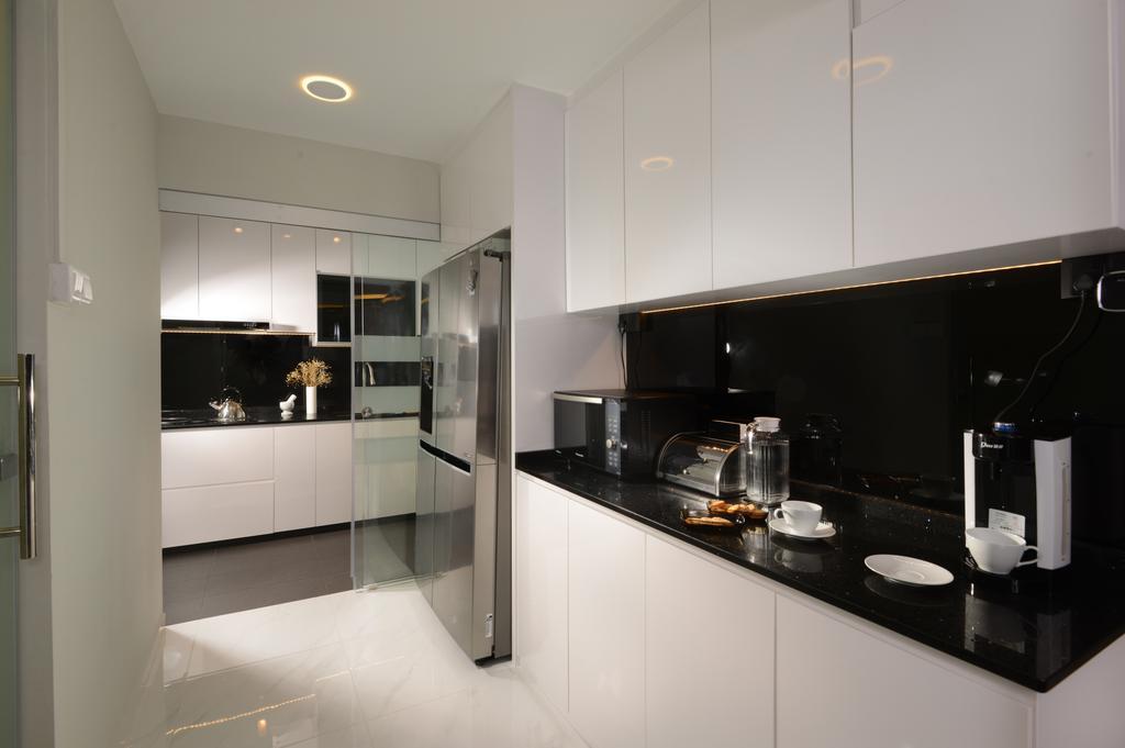 Contemporary, HDB, Kitchen, Rivervale Drive, Interior Designer, Darwin Interior