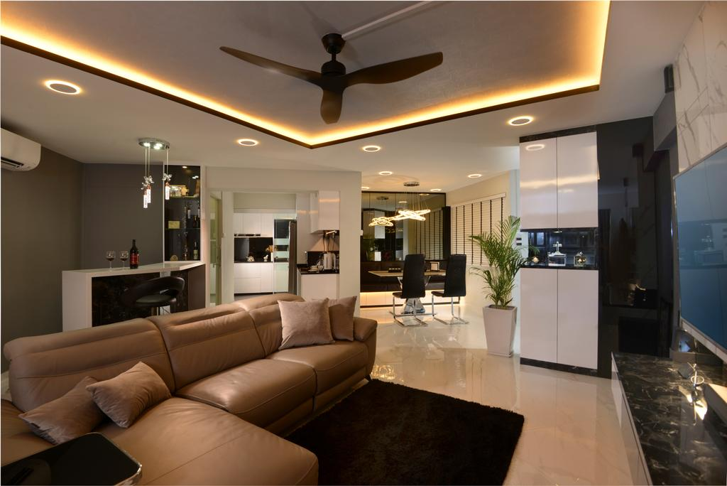 Contemporary, HDB, Living Room, Rivervale Drive, Interior Designer, Darwin Interior