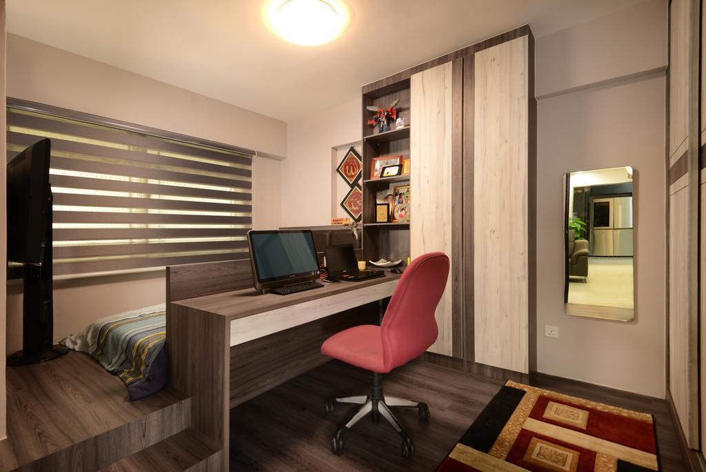 Transitional, HDB, Study, Anchorvale Drive, Interior Designer, Darwin Interior, Contemporary