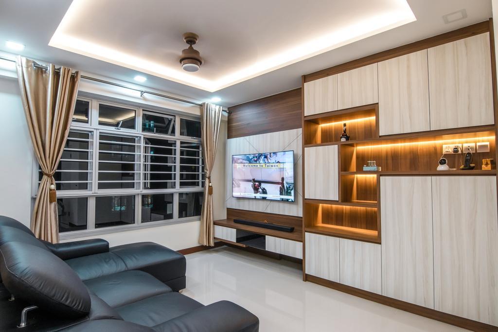 Contemporary, HDB, Living Room, Rivervale Crescent, Interior Designer, 9 Creation