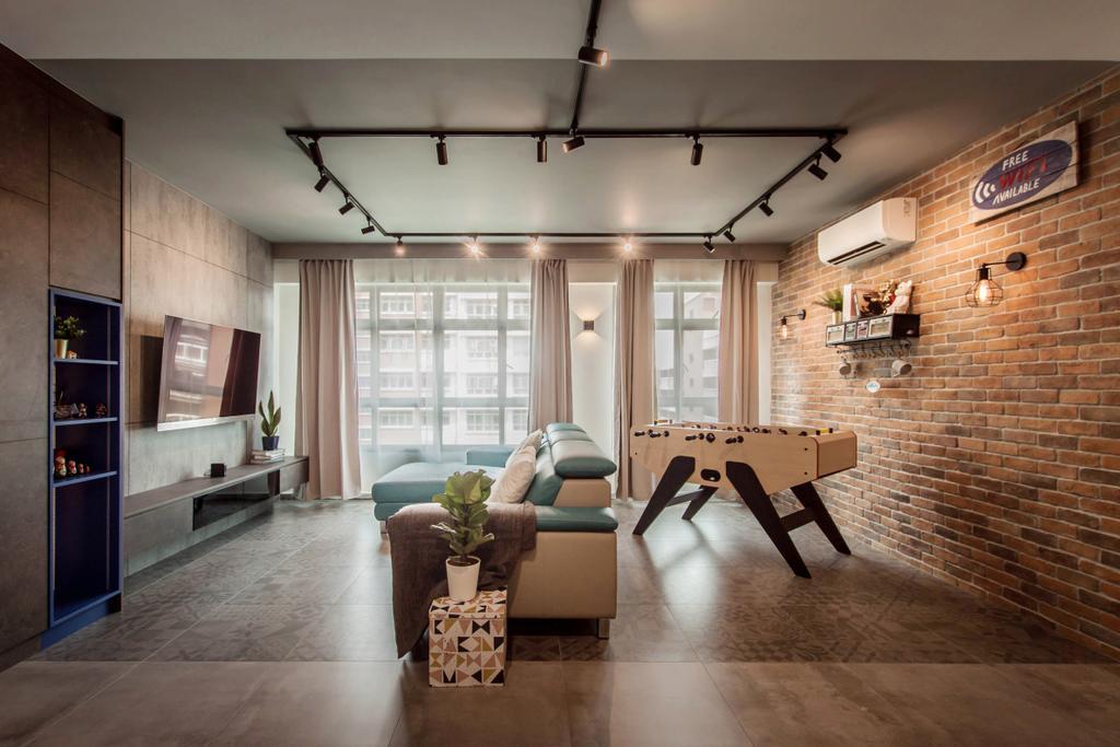 Modern, HDB, Living Room, Tampines Street 45, Interior Designer, Space Atelier, Industrial
