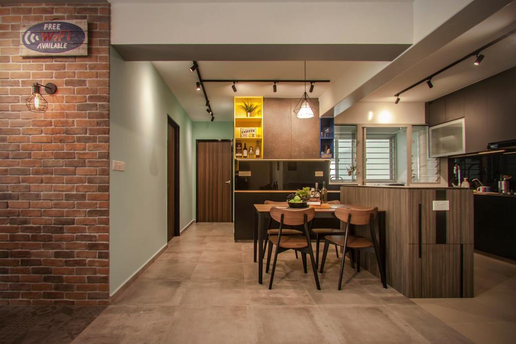 Modern, HDB, Kitchen, Tampines Street 45, Interior Designer, Space Atelier, Industrial