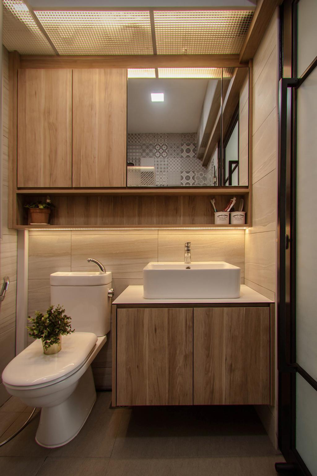 Modern, HDB, Bathroom, Tampines Street 45, Interior Designer, Space Atelier, Industrial
