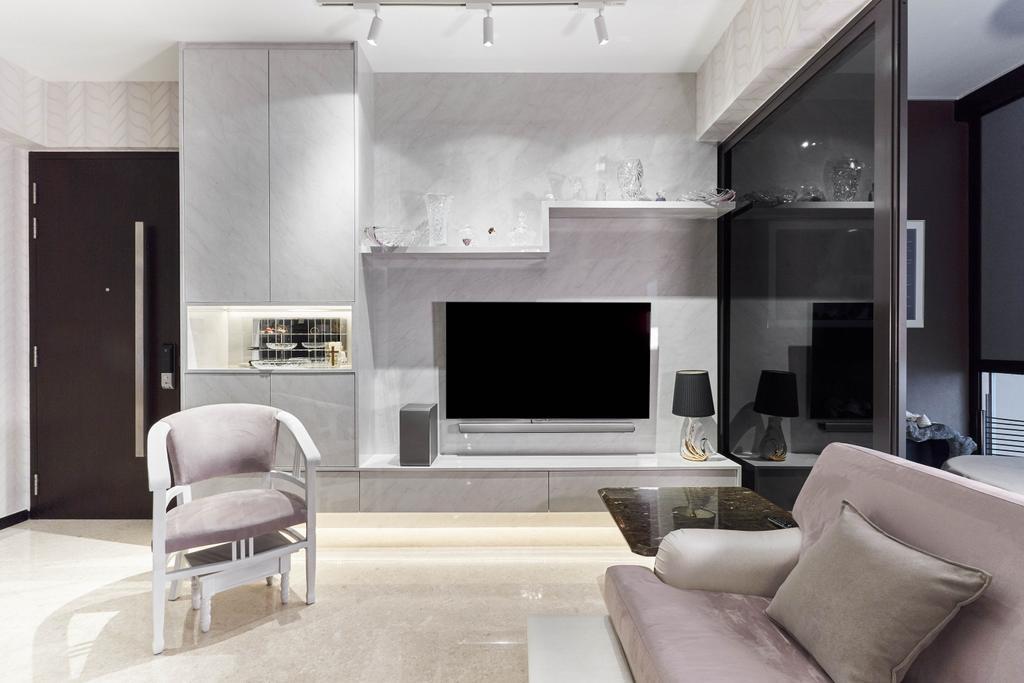 Contemporary, Condo, Living Room, Sims Urban Oasis, Interior Designer, Charlotte's Carpentry