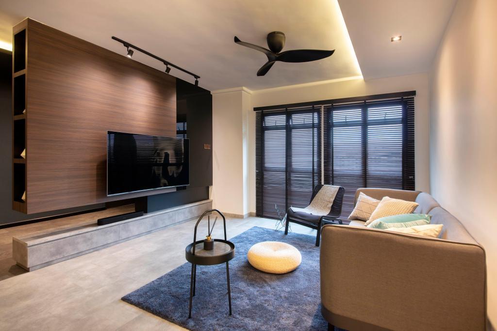 Contemporary, HDB, Living Room, Rivervale Drive, Interior Designer, ARK-hitecture