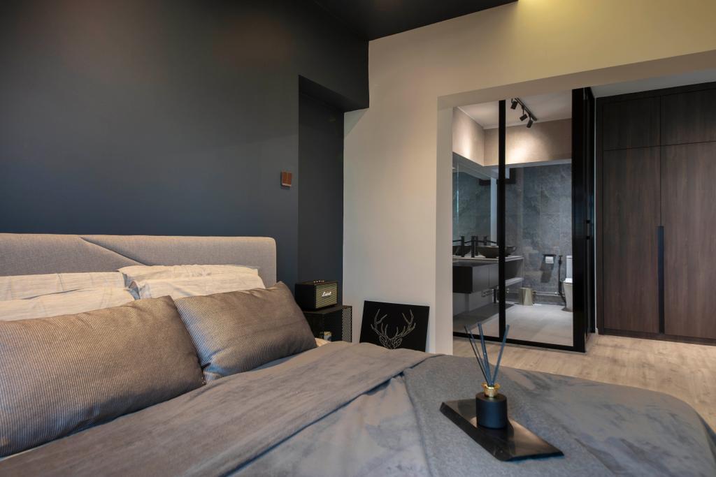 Contemporary, HDB, Bedroom, Rivervale Drive, Interior Designer, ARK-hitecture, Open Bathroom