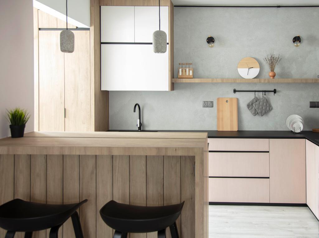 Contemporary, HDB, Kitchen, Sumang Lane, Interior Designer, KDOT